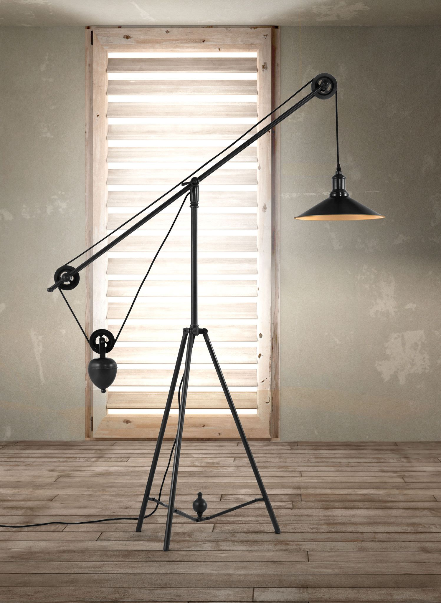 Pulley Floor Lamp Antique Black Gold Industrial Floor Lamps Pulley Floor Lamp Modern Floor Lamps
