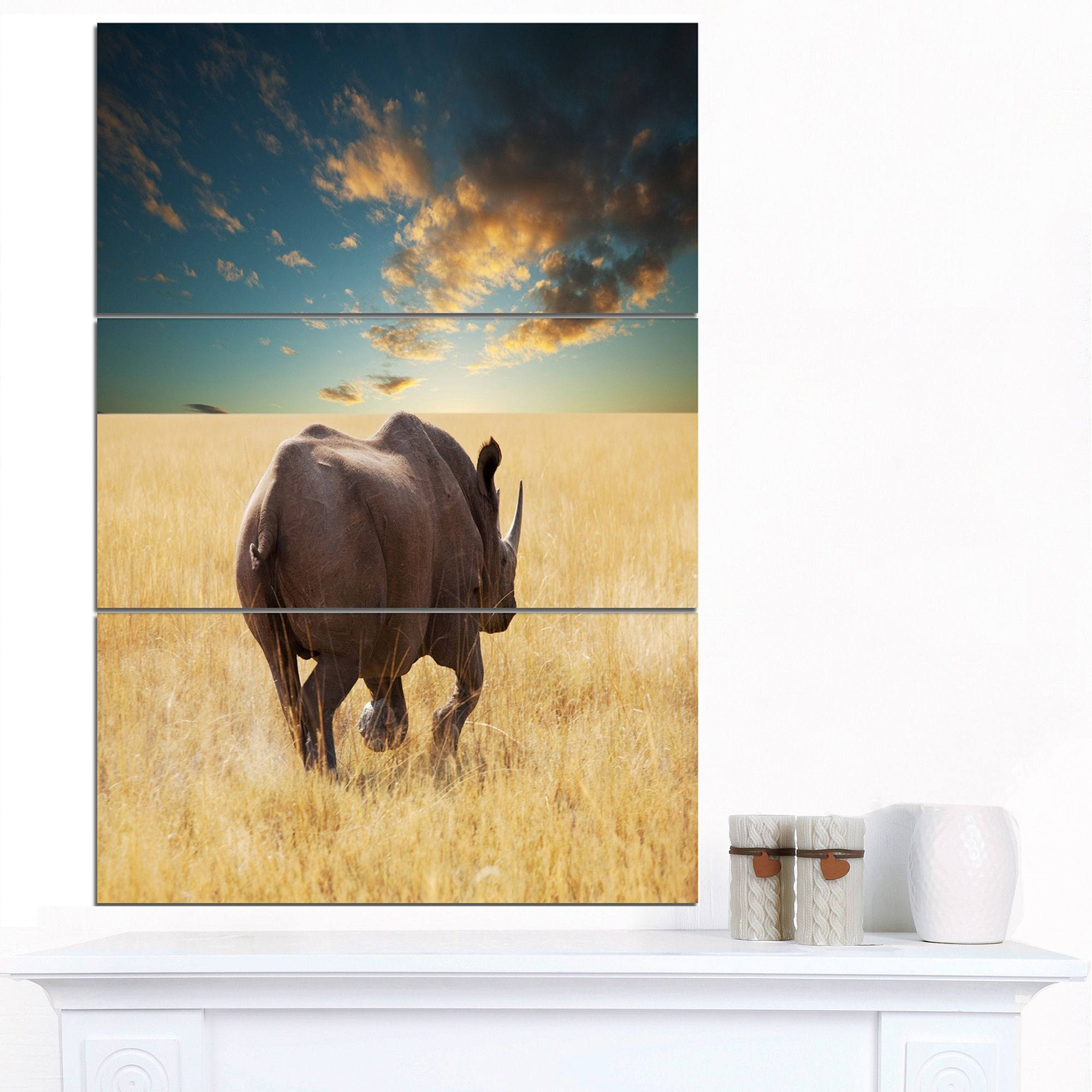 Designart \'Giant Rhino under Cloudy Sky\' Extra African Art Print ...