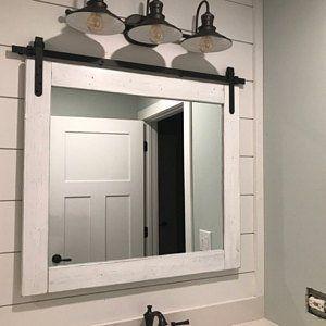 Photo of RUSTIC DISTRESSED Bathroom Set Vanity Mirror with Mason Jar | Etsy