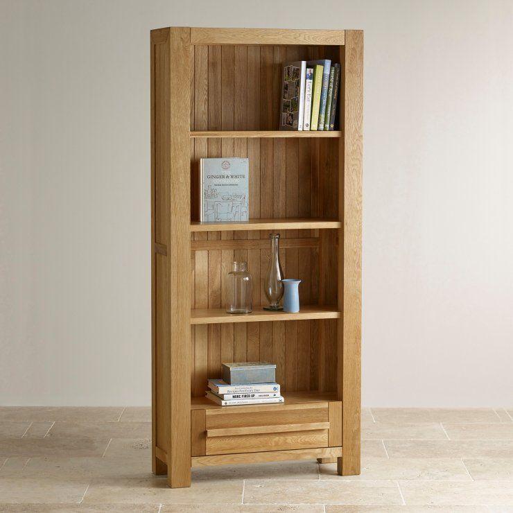 Fresco Natural Solid Oak Tall Bookcase Oak Furniture Land Solid