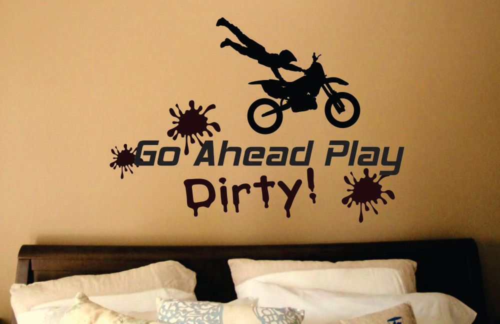 Motocross wall decal dirt bike wall decal play dirty decal dirt bike decor motocross decor motorcycle wall decal wd0016