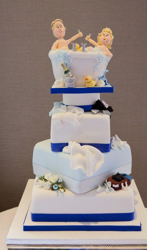 Beautiful Blue Safeway Wedding Cake
