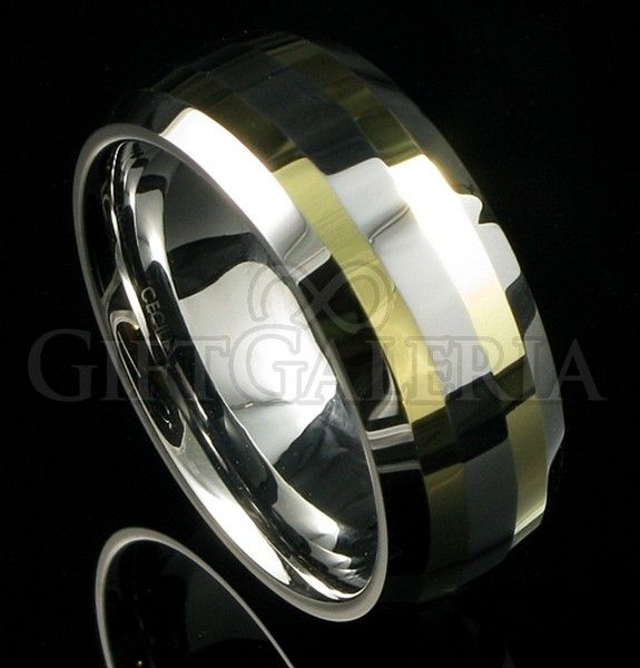 Alianca De Casamento Em Tungstenio Prata E Ouro Com Espessura De