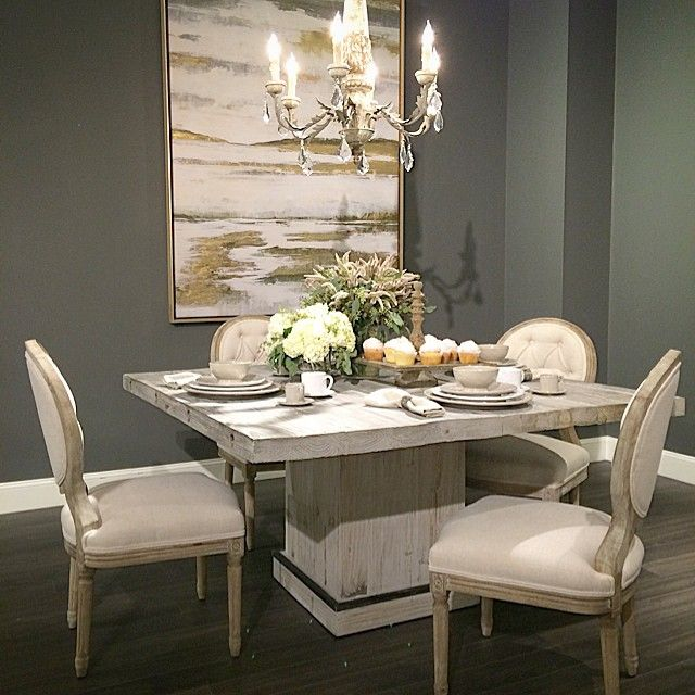 This Ann Square #Dining Table (or breakfast table) is so #elegant and #romantic but with an Earthy #farmhouse twist. #highfashionhome #decorating #homedecor #diningroom #design #interiordesign  http://www.highfashionhome.com/ann-dining-table.html