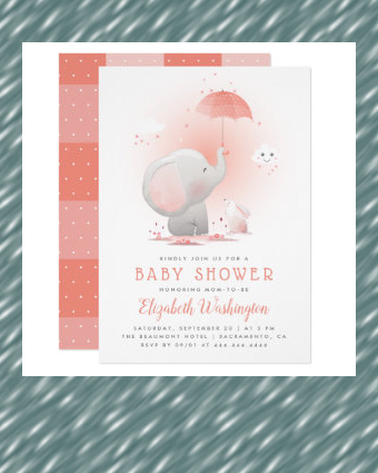 Cute Umbrella Elephant & Bunny Girl Baby Shower Invitation | Zazzle.com