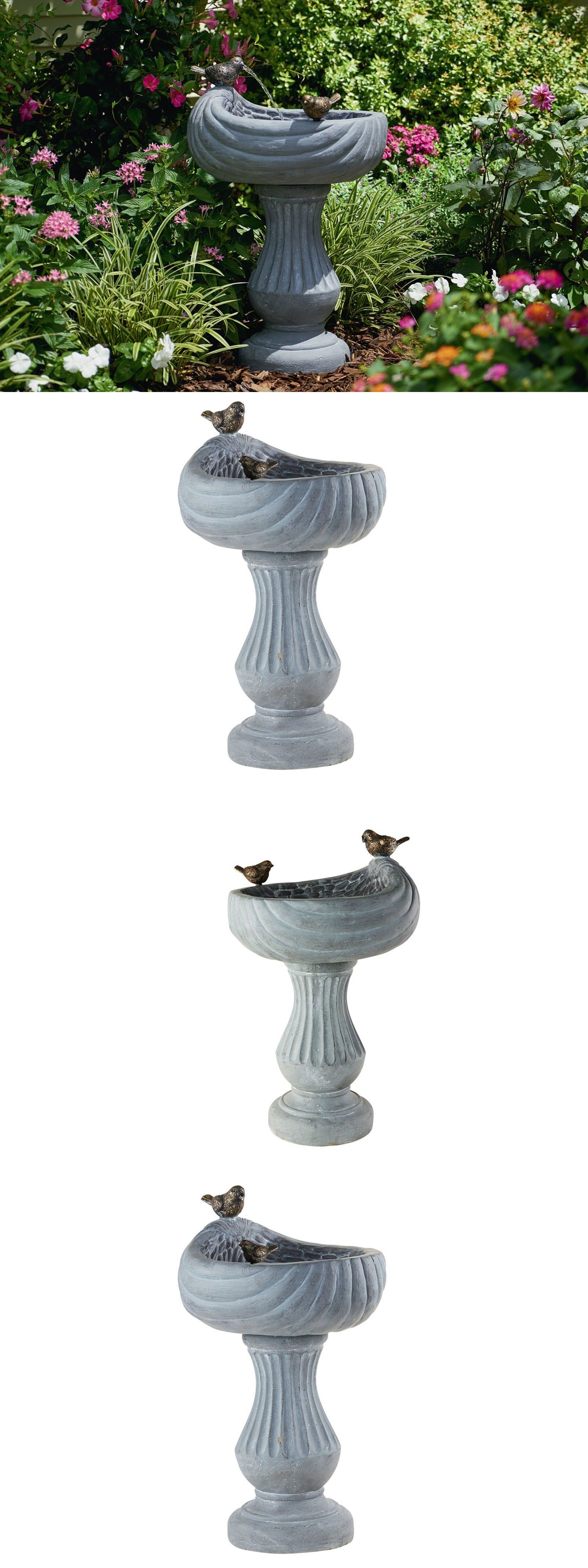 birdbaths 20500: bird garden fountain bath water outdoor waterfall