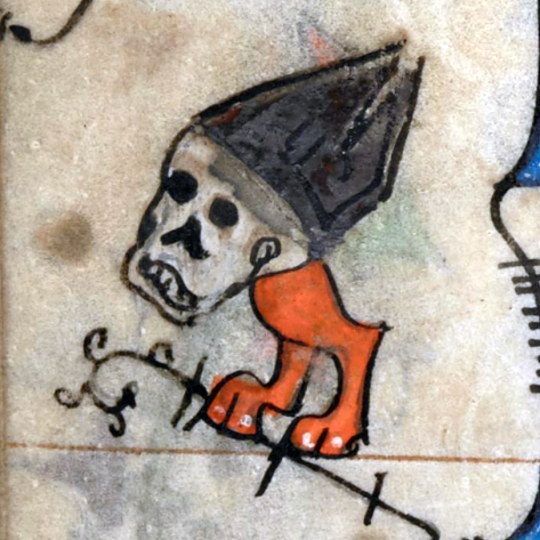 walking skull  Hours of Saint-Omer, France ca. 1320  BL, Add 36684, fol. 84v