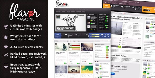 Flavor - Responsive/HD Magazine/Review AJAX Theme Download http://prowordpress.org