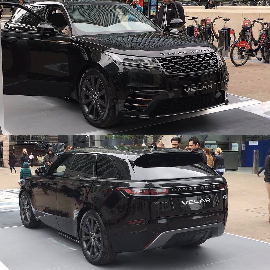The Range Rover Velar on display at Canary Wharf in London