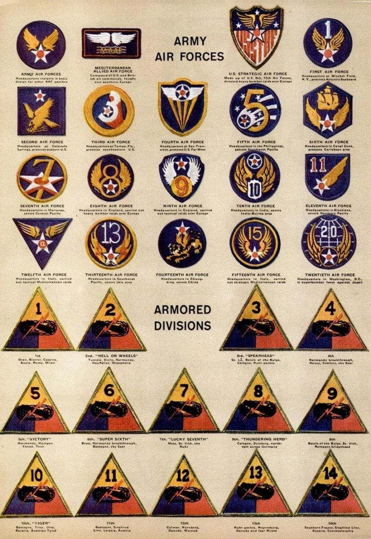 See dozens of vintage US Army & Navy shoulder insignia