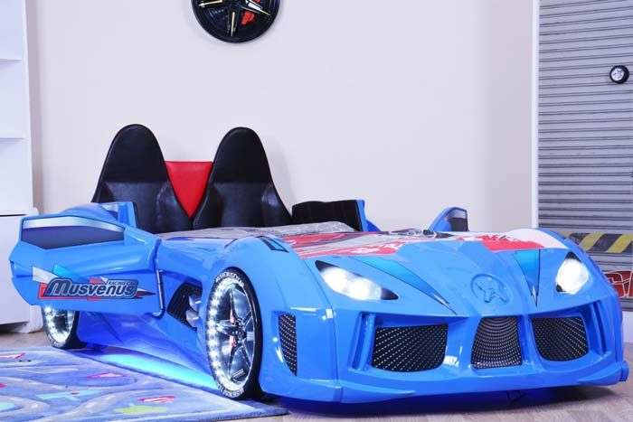 Audi V7 Blue Car Bed With Sporty Leather Seats Car Doors