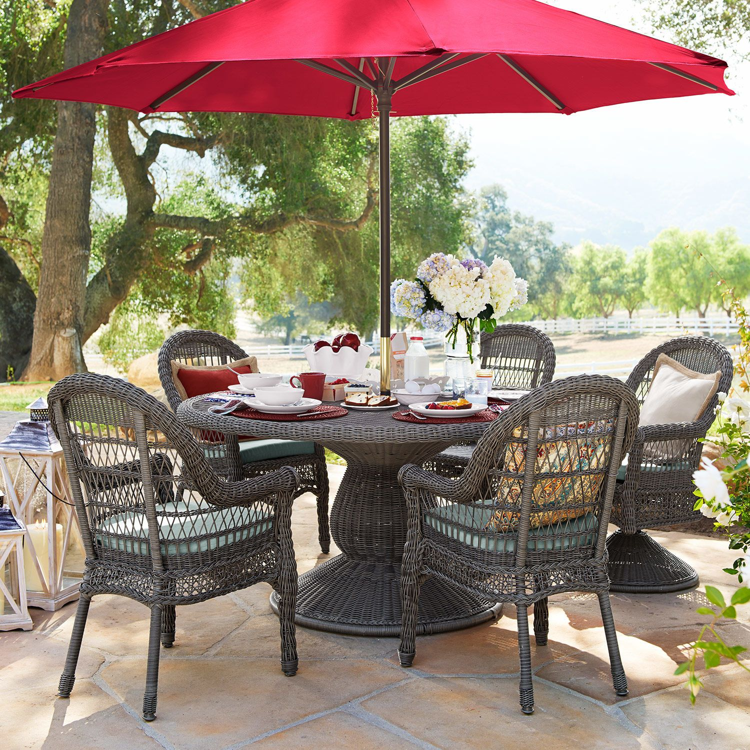Hand Woven Of Easy To Clean Synthetic Wicker Over A Sturdy, Rust Resistant  Iron Frame, It Can Be Used Alone Or With Your Patio Umbrella And Stand.