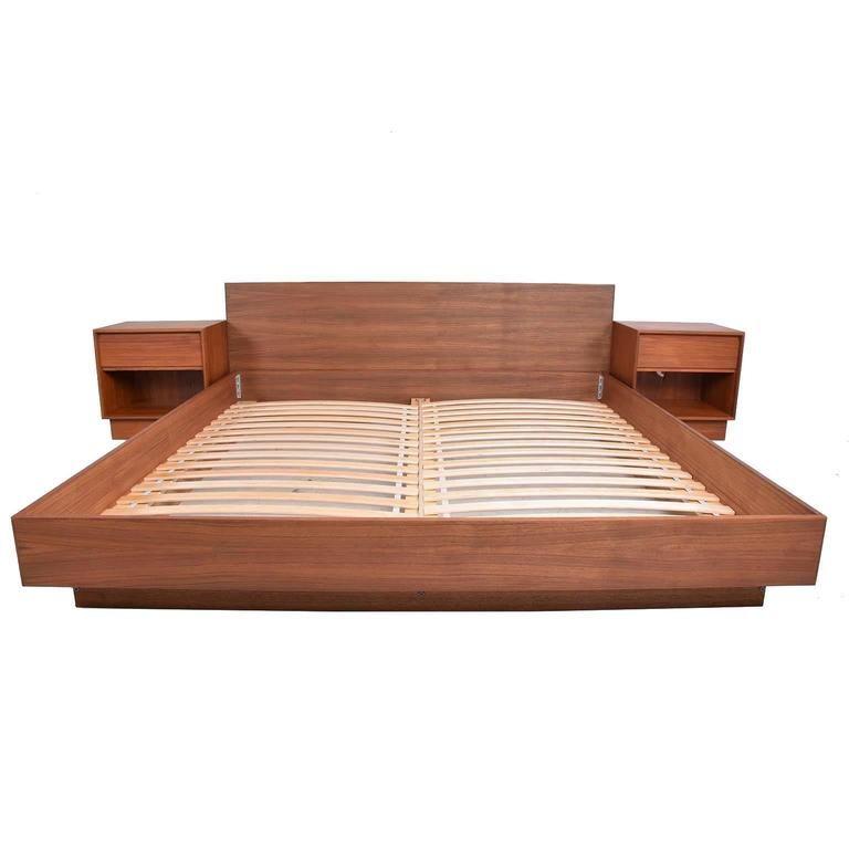Best Danish Modern Teak Platfom Bed King Size Mid Century 640 x 480