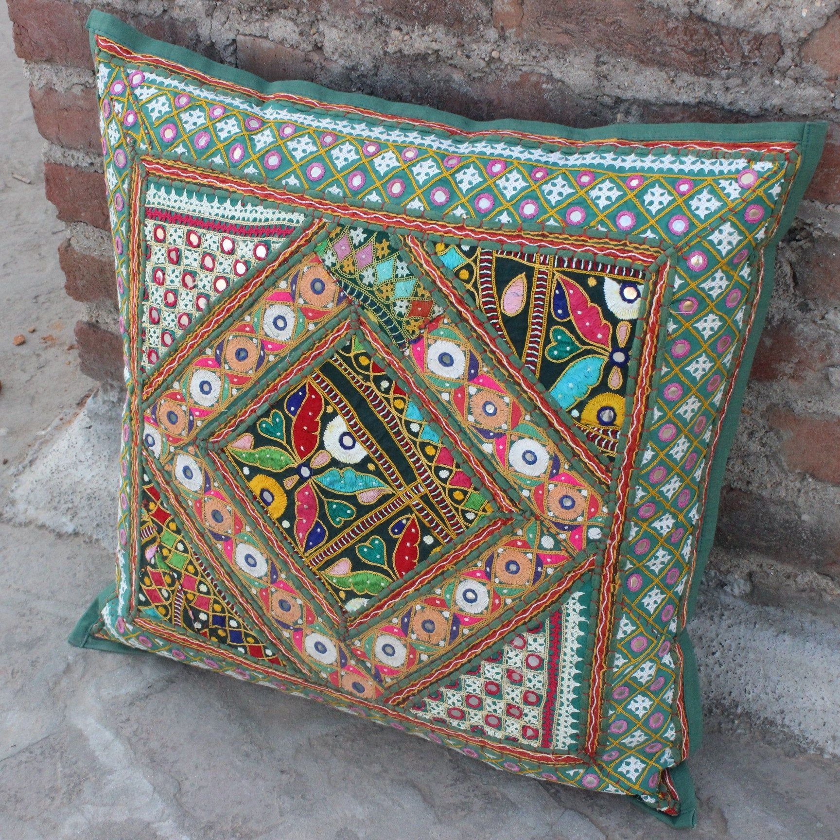 decorative boho accent unique pretty patchwork 16x16.htm 24 in green bohemian pillow mirrored hand embroidered indian  pillow mirrored hand embroidered