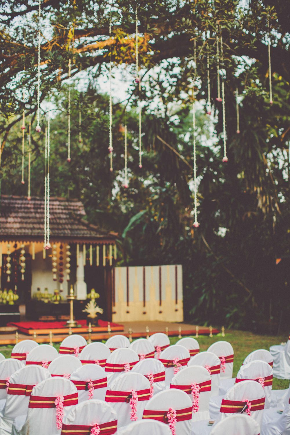 Wedding decoration ideas in kerala  A Kerala wedding in India with an ivory and gold bridal sari and