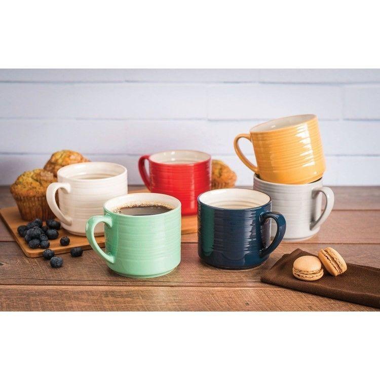 Coffee mug set 6 piece drinkware multi color stoneware