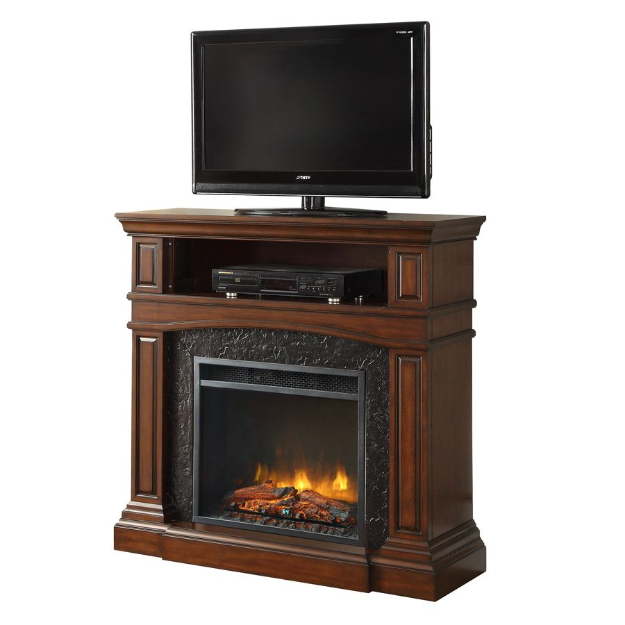 Febo Flame 42 In W 5 120 Btu Cherry Wood And Metal Infrared Quartz Electric Fireplace With Thermostat With Remote Control Lowes Com Lowes Electric Fireplace Electric Fireplace Faux Stone Electric Fireplace