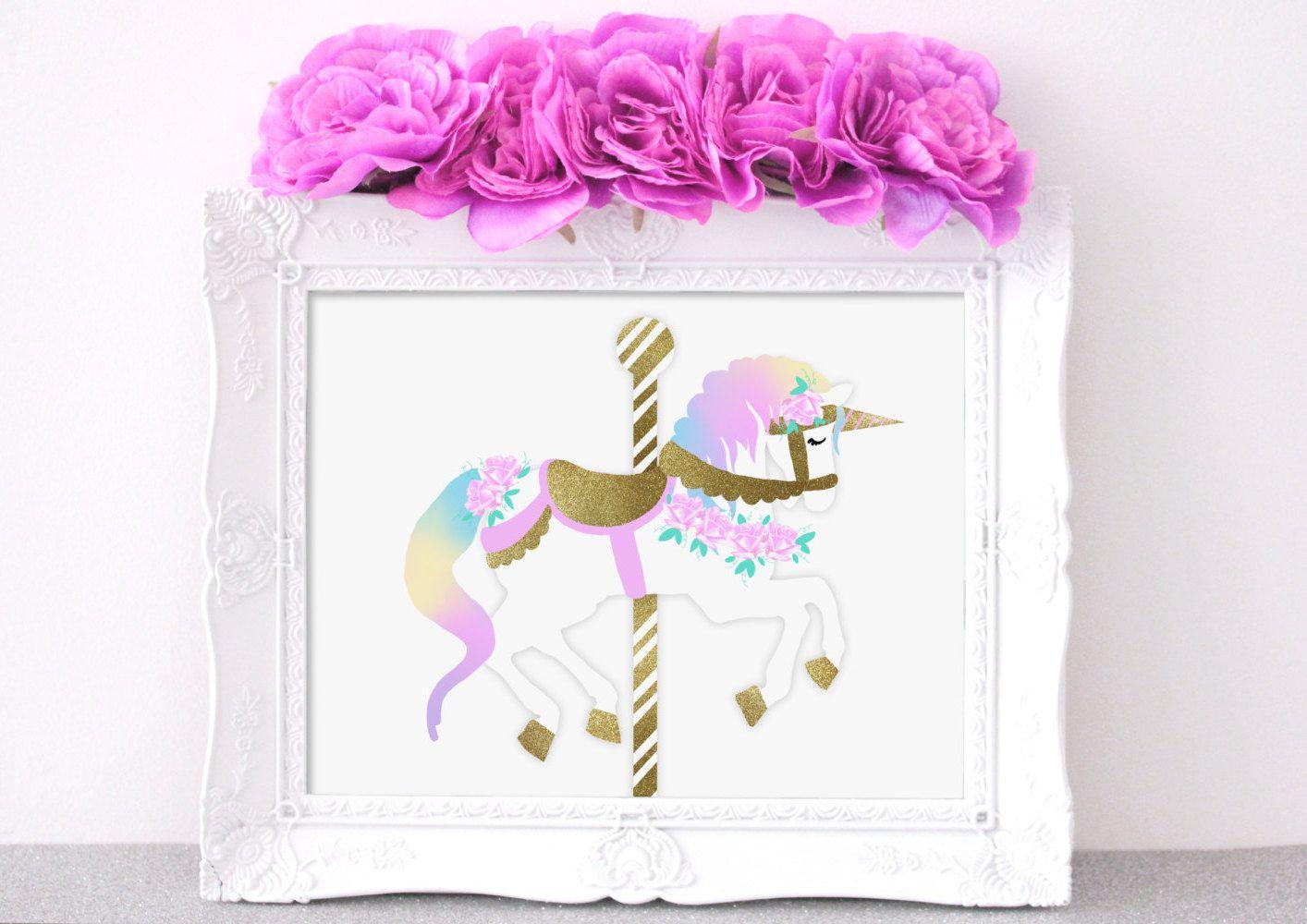 carousel wall décor for kids, unicorn kids room décor, baby