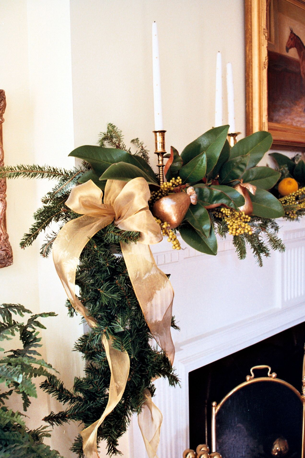 My Christmas Mantel With Magnolia And Gold It S Beginning To Look