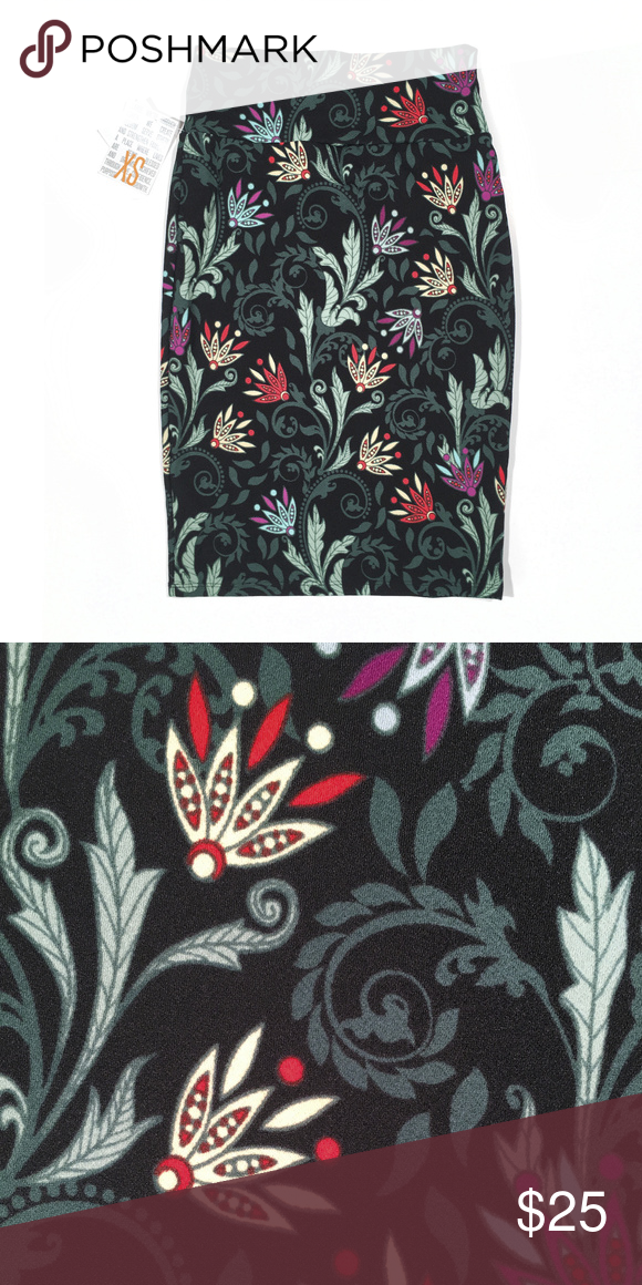 ad1d7f9c6 [LulaRoe] Cassie. NWT. Fun floral print Cassie pencil skirt. Background is  black, colors in the pattern are mint, dark mint, cream, red and purple.