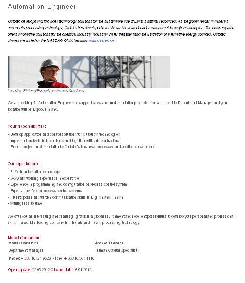 Outotec is looking for a Spare Part Operation Engineer to Germany ...