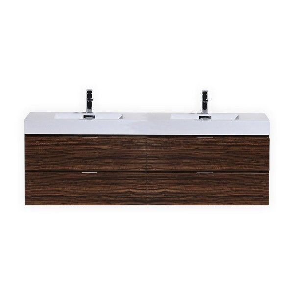 Kubebath BSLDWNT Bliss Inch Double Sink Walnut Wall Mount - 72 inch modern bathroom vanity