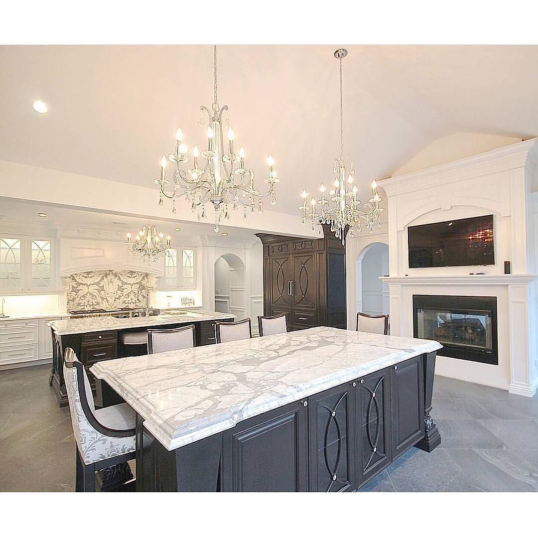When you come across a kitchen that makes you stare for a few min... Glam functional stylish and spacious! ( designer is unknown for this image. Please email info@inspiremehomedecor.com if you know who the proper credit should go to!) - Home Decor is the best.