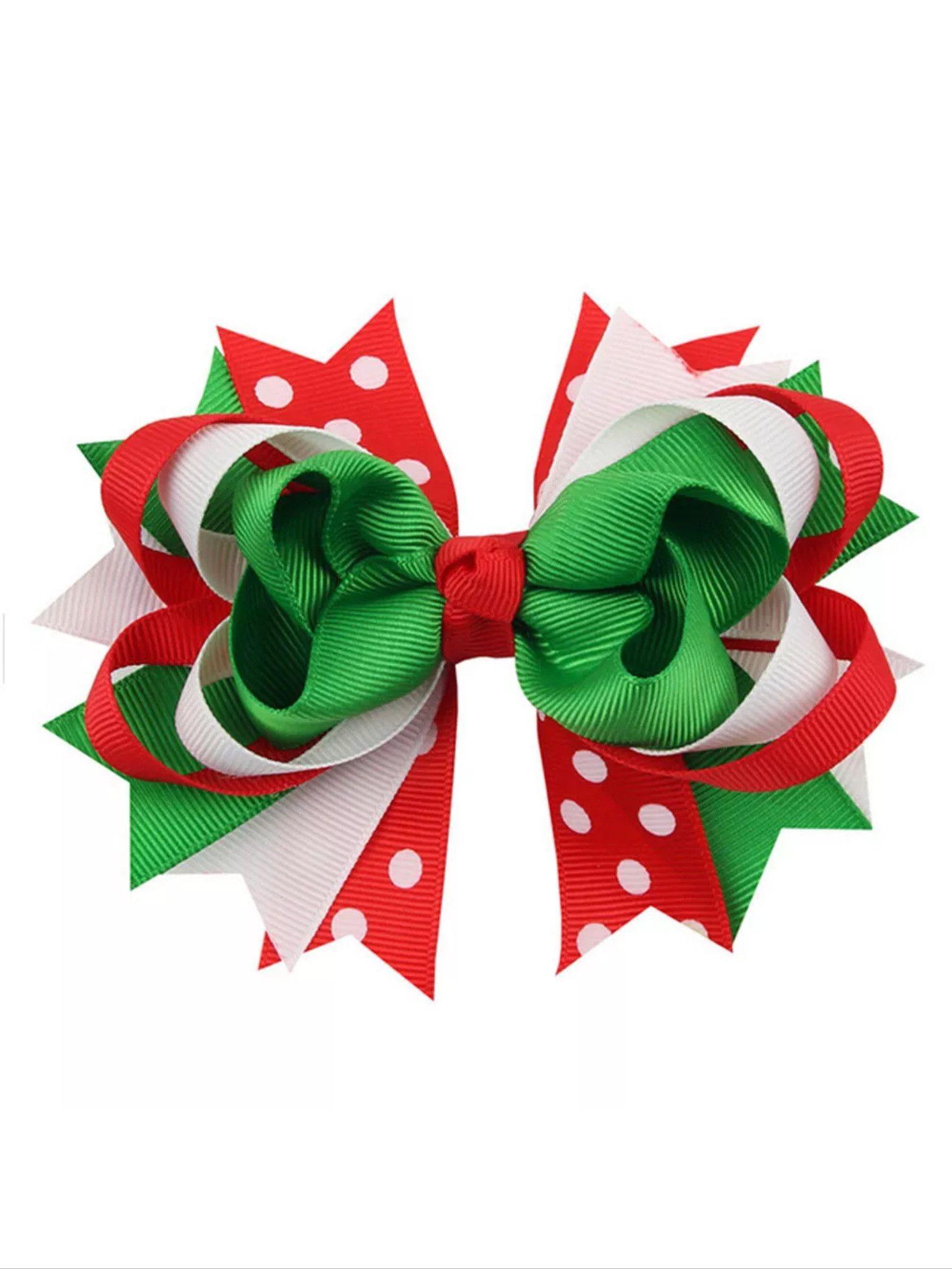 Christmas Holiday Gift Snowflake Ribbon Hair Bows Clip Kids Girls Baby Hairpin