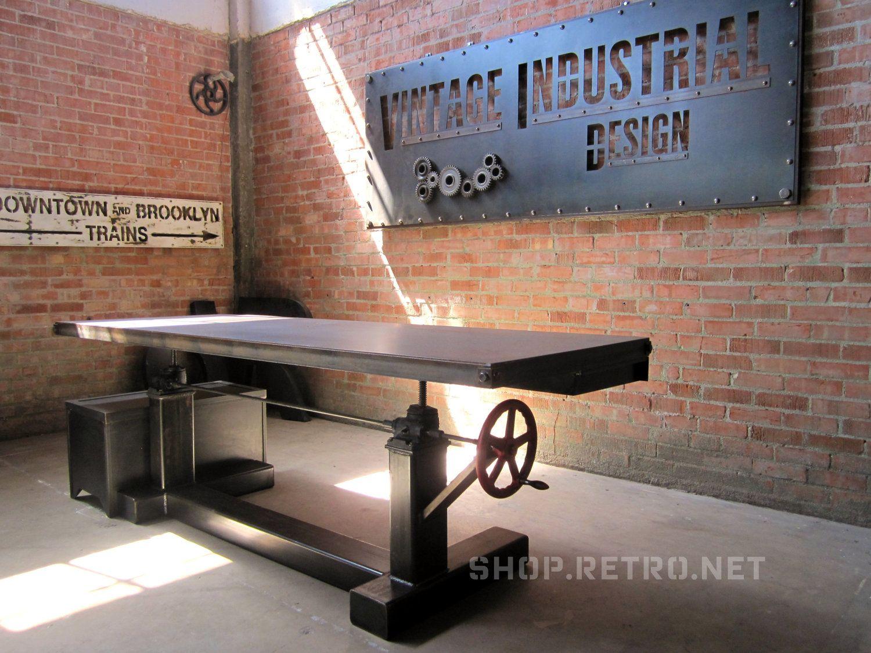 Hure crank table vintage industrial furniture - French Industrial Adjustable Height Desk Vintage Work Table