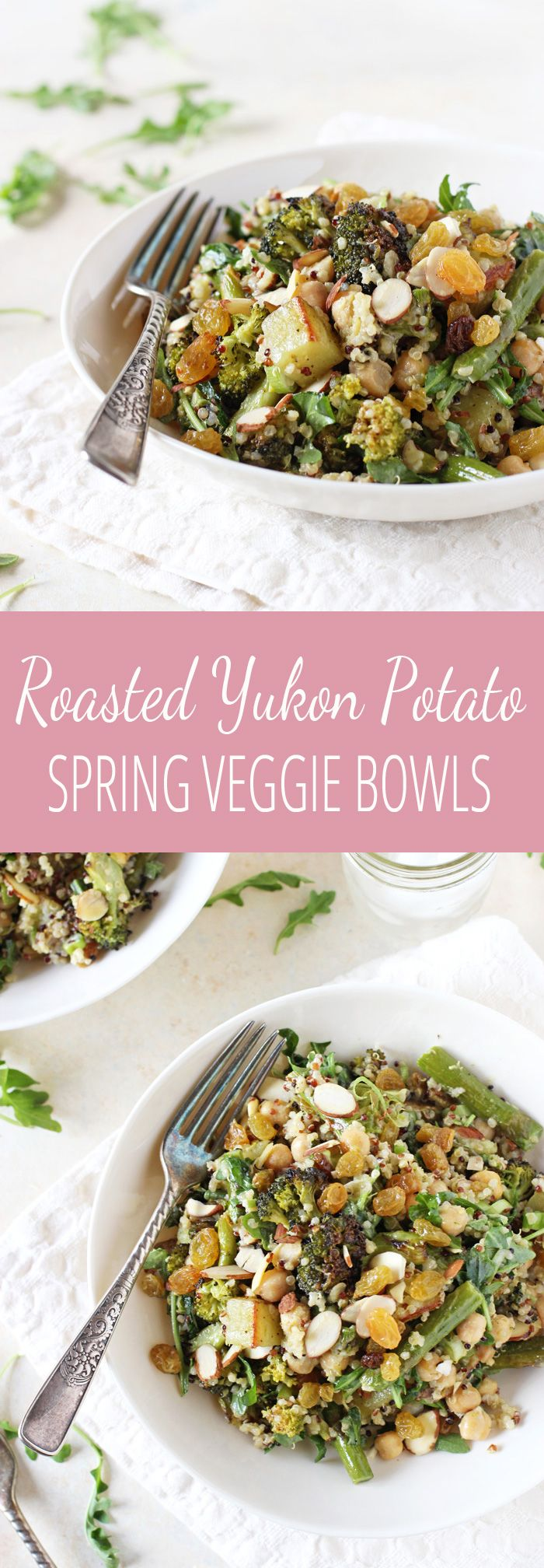 Flavorful and satisfying, these roasted yukon potato spring vegetable bowls are a complete meal! Filled with asparagus, quinoa, almonds and a creamy dressing!