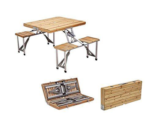 Amazon Com Outsunny Portable Folding Wooden Outdoor Camp