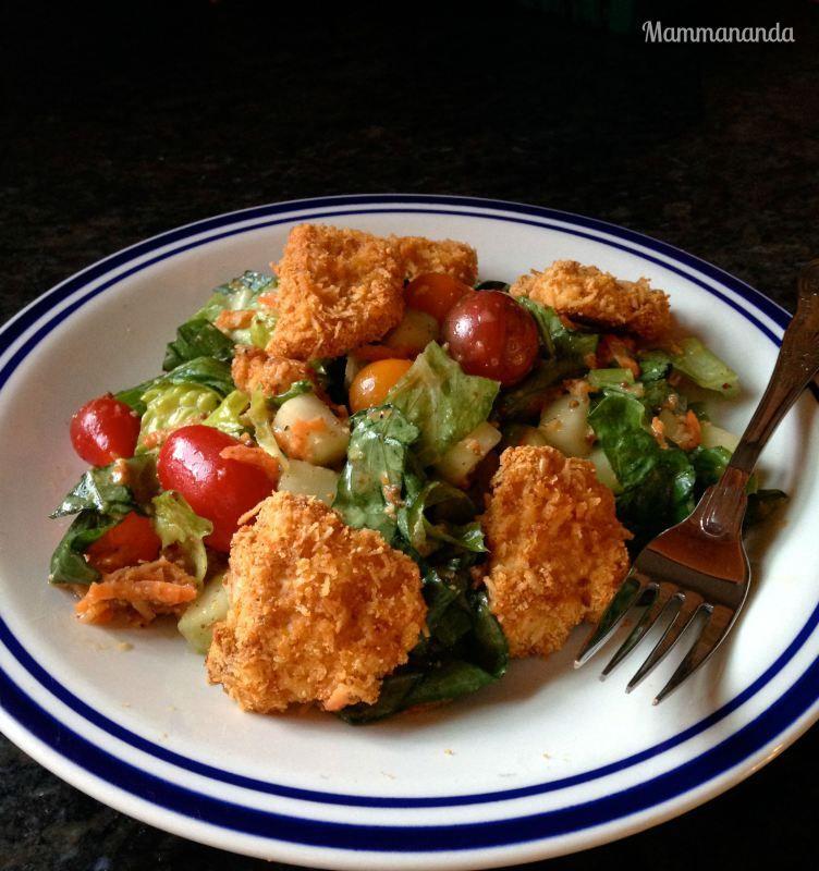 Grain-free Chicken Strip Salad with Honey Mustard Vinaigrette.