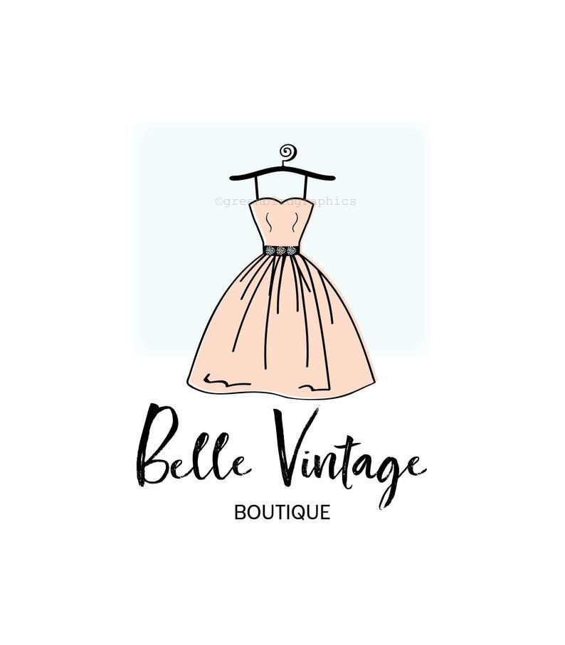 Vintage Clothing Shop Logo Vintage Boutique Logo Premade Logo Design Dress Logo Boutique Logo Vintage Clothes Shop Fashion Logo Design