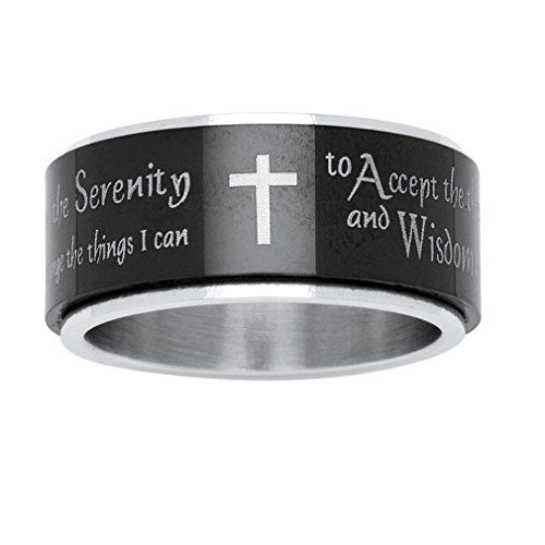 Serenity Prayer Black Ionplating And Stainless Steel Cross Spinner Ring Click Image To Review More With Images Mens Stainless Steel Rings Prayer Cross Serenity Prayer