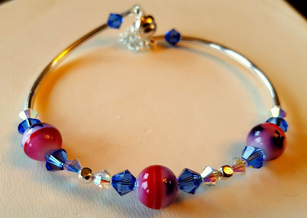 Crystal clasp bracelet 045 patriotic usa red