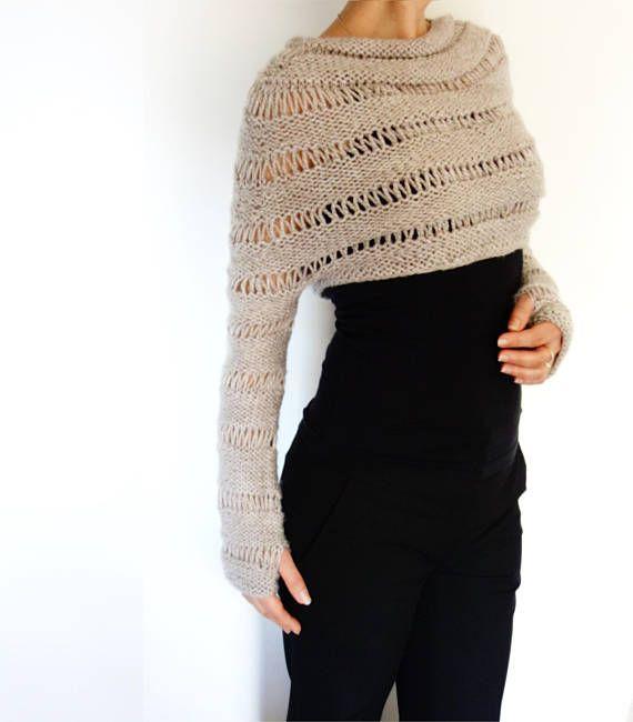 Sweater Knitting PATTERN - Oatmeal Cropped Thumb Hole Sweater/ Chunky Knit Shrug/ Adjustable Length #shrugsweater