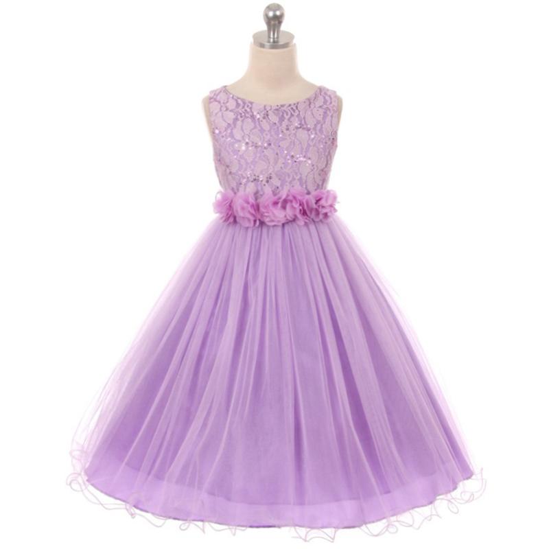 48.00$  Buy now - http://vihtj.justgood.pw/vig/item.php?t=bzdhjsm37384 - Lavender Sequin Top Tulle Flower Girl Dance Holiday Bridesmaid Birthday Dresses 48.00$