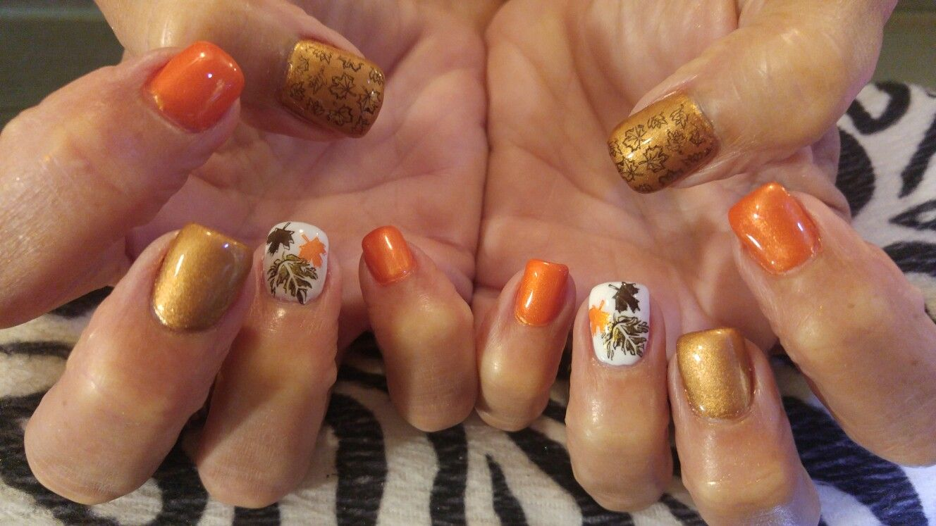 Fall leaves nail design! Acrylic nails with stamped nail art on ring ...