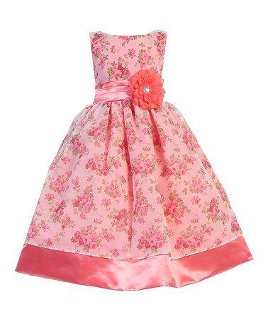 Loving this Coral Floral Organza Dress - Toddler & Girls on #zulily! #zulilyfinds