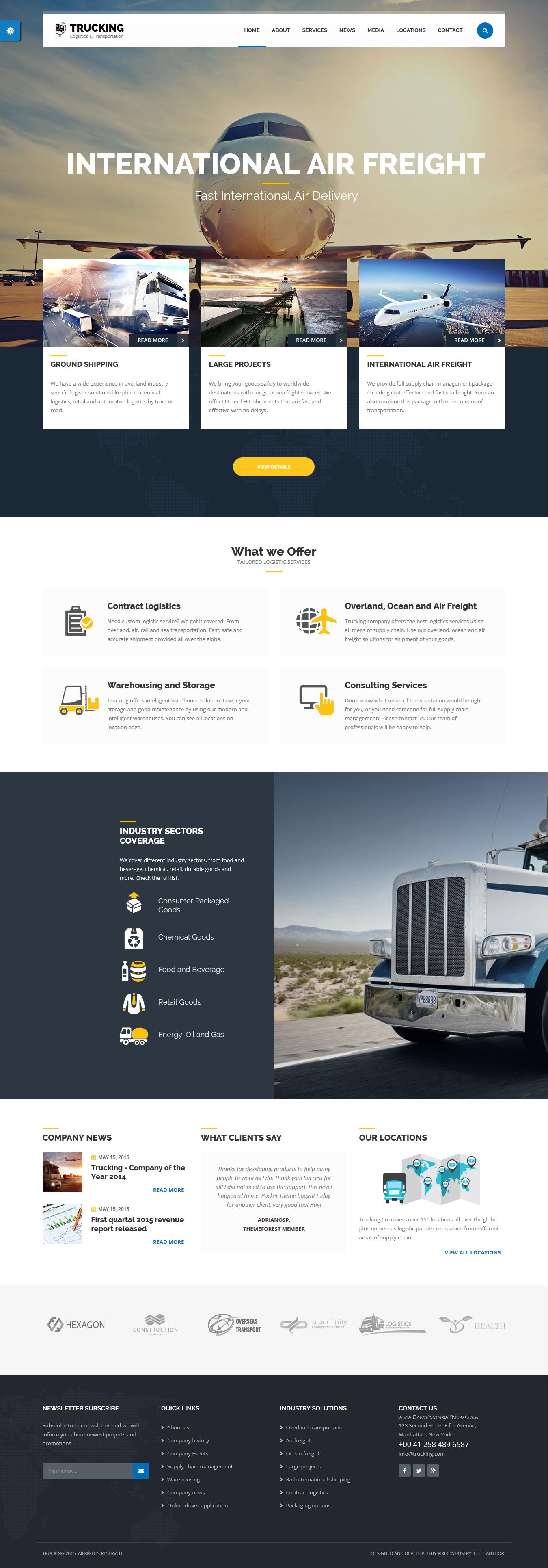 Trucking transportation logistics html template