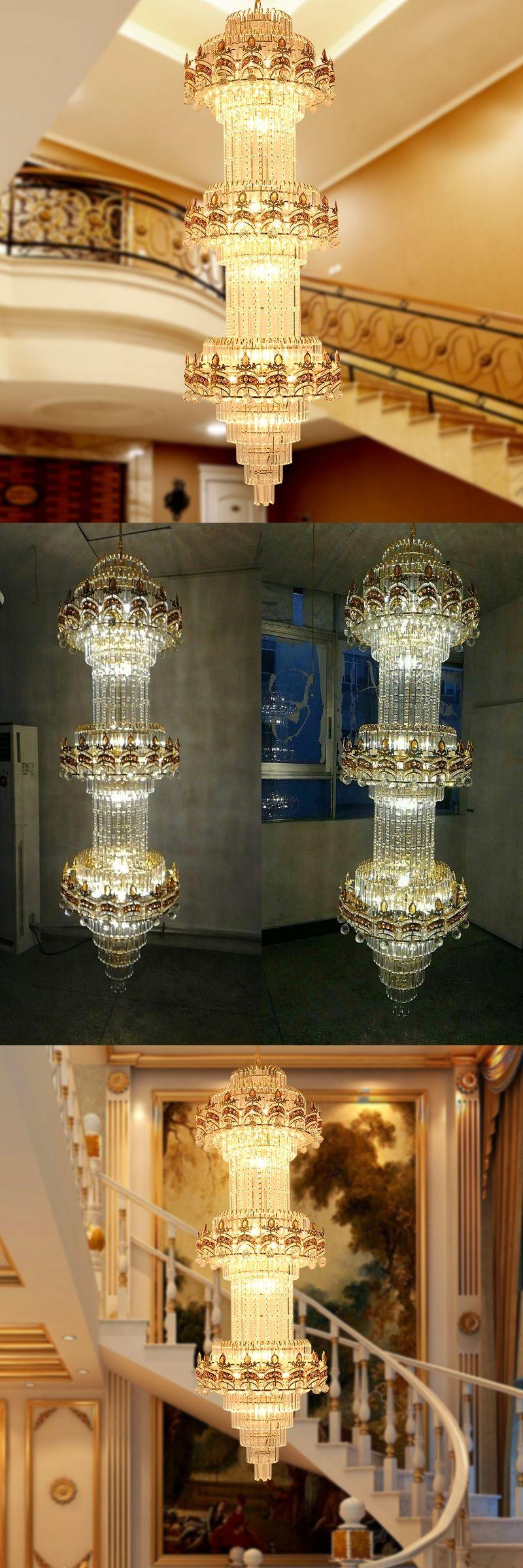 Lustre Stair Chandelier K9 Gold Crystal Chandelier Modern Led