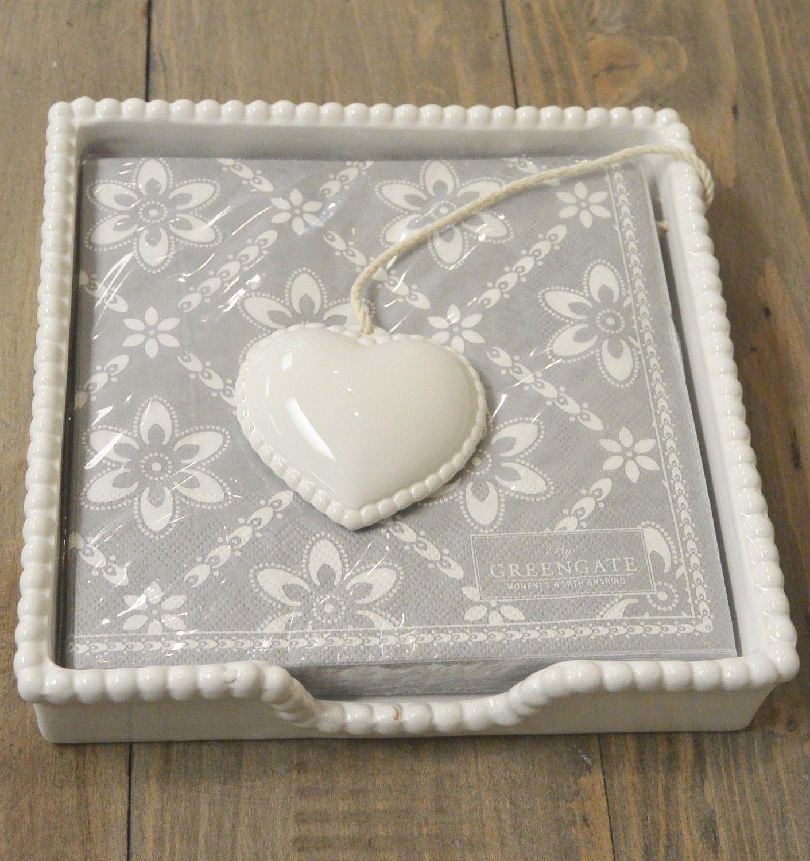 NAP001  White ceramic napkin holder with heart (1)