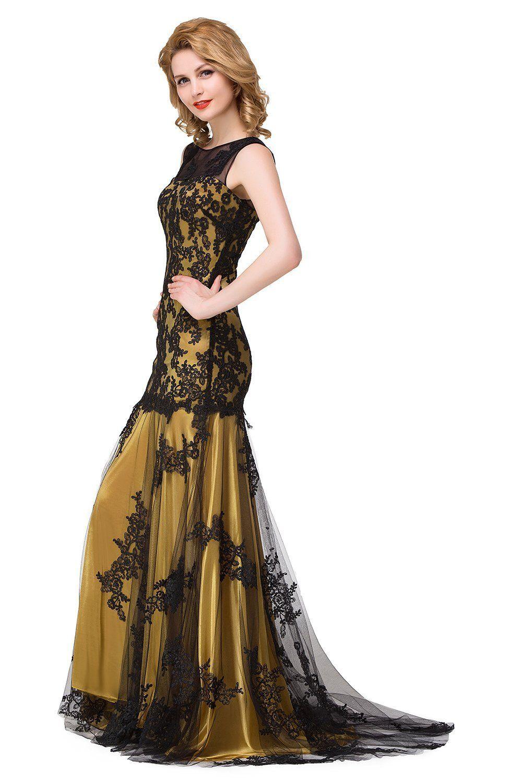 Amazon babyonlinedress scoop neck mermaid black lace applique