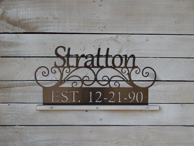 Family last name sign established wedding date wedding