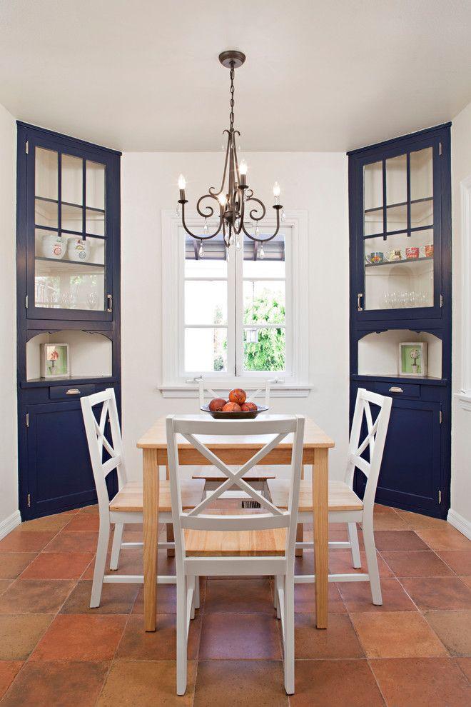 Corner Hutches Navy Blue Cabinets Black Chandelier Wooden Dining Nook Glazed Porcelain Tiles Of Great Ideas