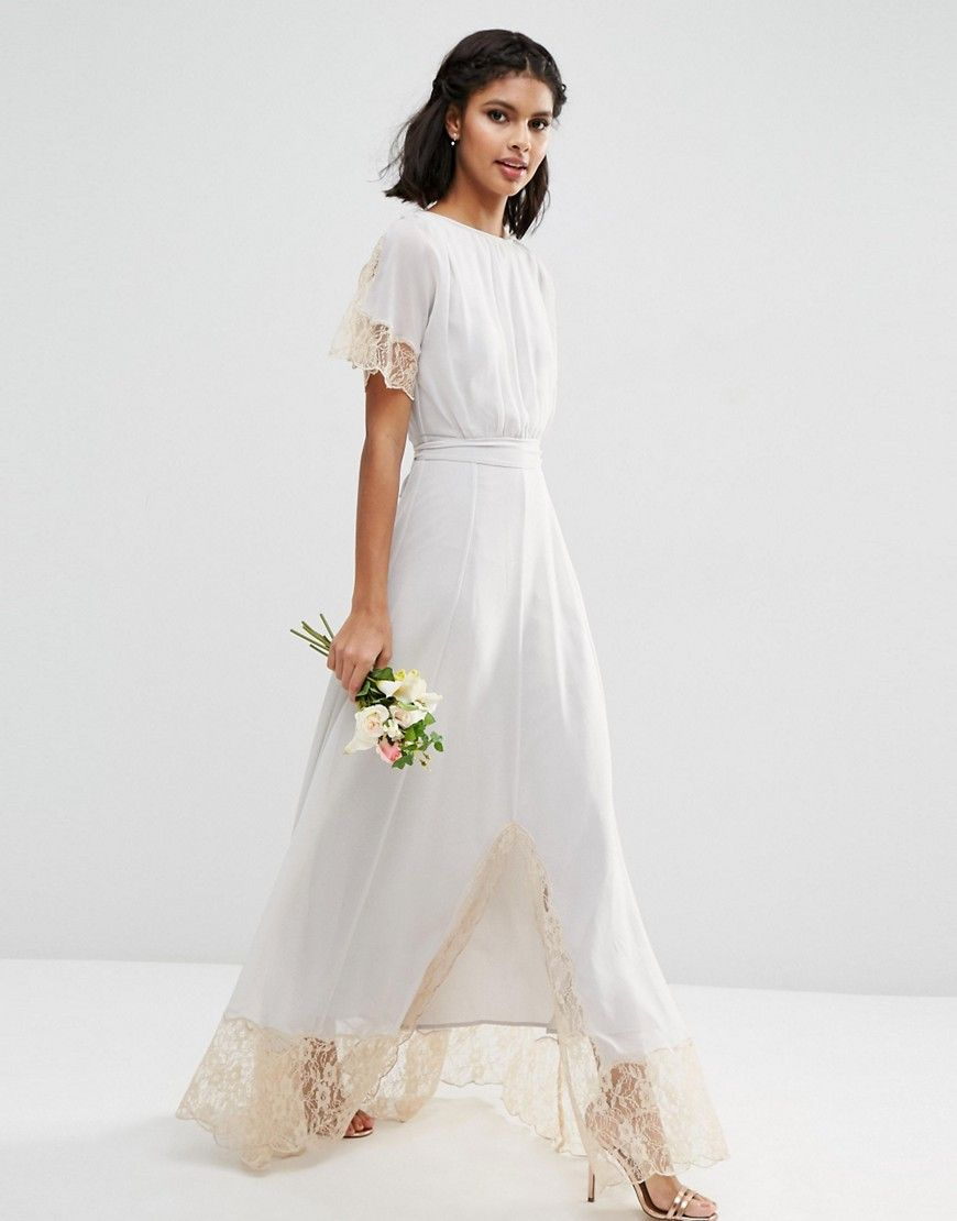 Asos Wedding Lace Trim Maxi Dress At Asos Com Vestidos De Novia Originales Vestidos De Novia Vestido De Novia Baratos