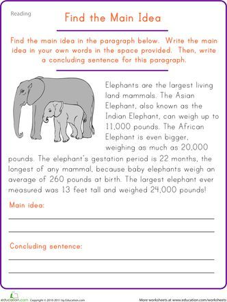 find the main idea elephant worksheets reading comprehension  find the main idea elephant