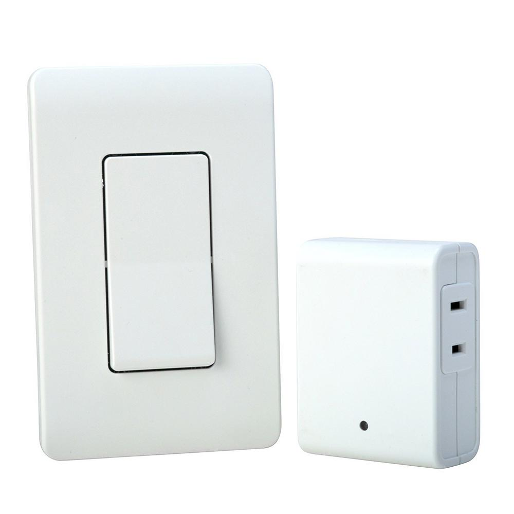 Woods 8 Amp Indoor Plug In Wireless Wall Switch Light Control White 59773wd The Home Depot In 2020 Plug In Wall Lights Light Control Wall Mounted Light