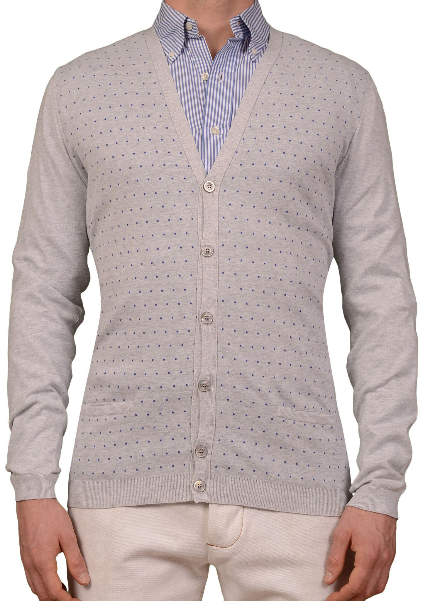 KITON Napoli Made In Italy Gray Polka Dot Cotton Cardigan Sweater ...