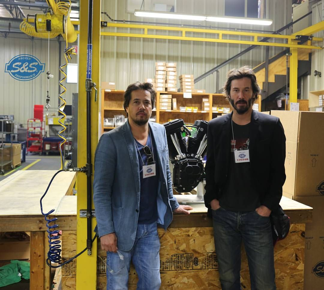 """Keanu Reeves and Gard Hollinger from Arch Motorcycle Company stopped by our Viola WI facility today to take a peek at the 124"""" motors we make specifically for their KRGT-1 motorcycle. While they were here they hopped on a few of our 143"""" equipped shop bikes and headed into the Wisconsin hills. Some people can be a bit intimidated by 143"""" of American made v-twin fury, but Mr. Reeves ..."""